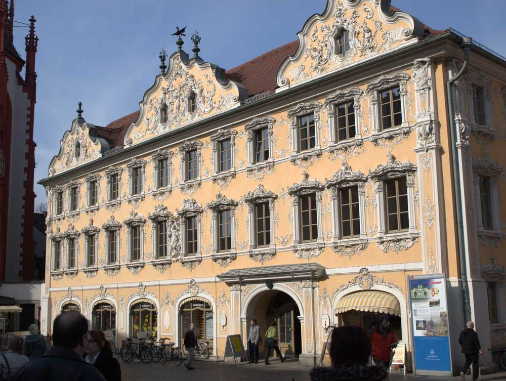 Rococo facade of the  Falkenhaus  in the market square, home to the Tourist Information Office