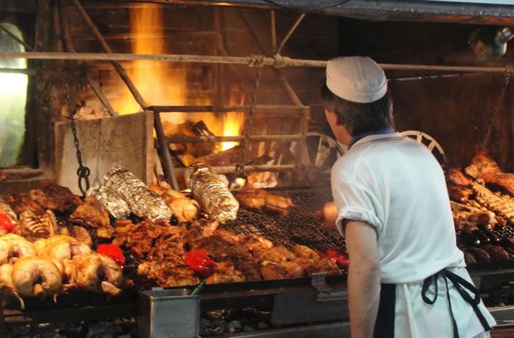 Traditional Uruguayan ' parrillada ' (BBQ)