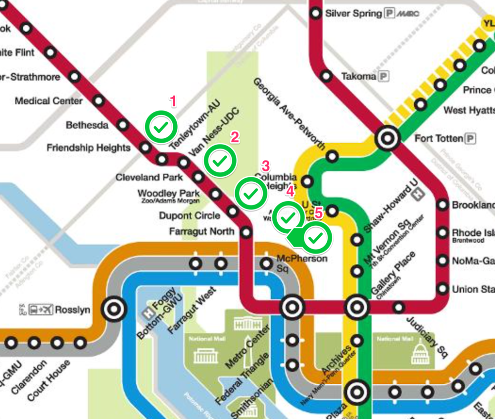 5 stops on the DC Metro Line