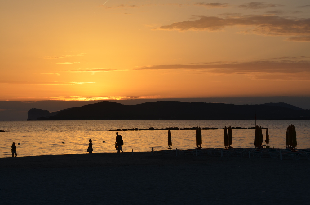 Alghero city beach sunset - © ezioman
