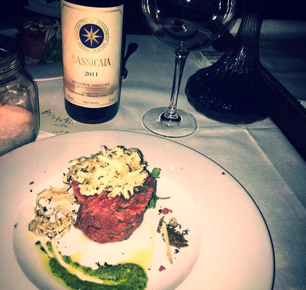 My special birthday dinner in Milan - with a Sassicaia 2011 and beef tartare