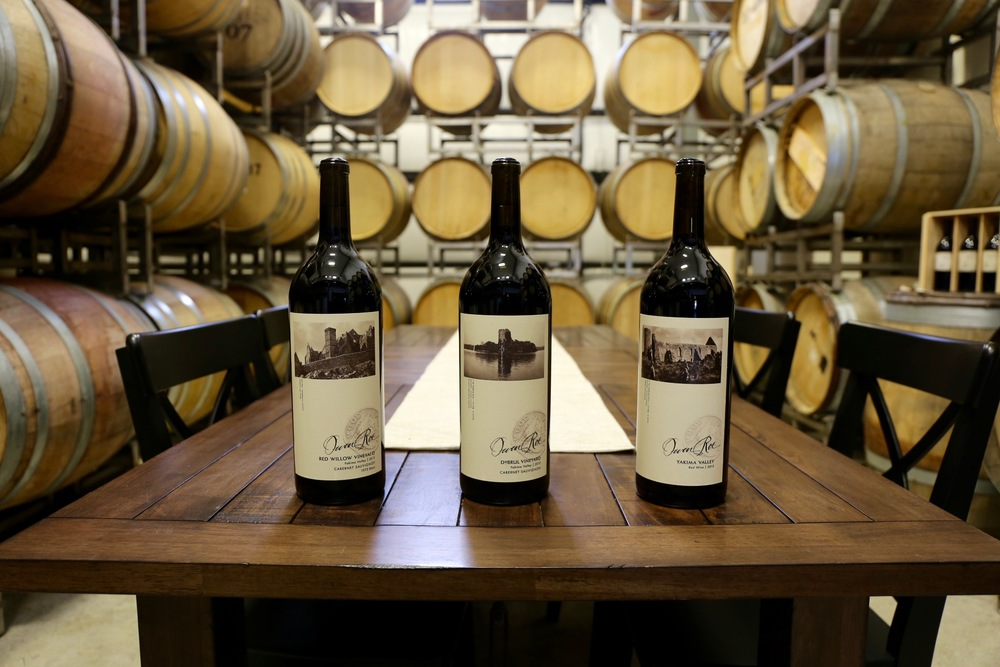 Owen Roe wines in the Oregon winery cellar and private tasting room, featuring their three core vineyards--Red Willow, Union Gap, and DuBrul