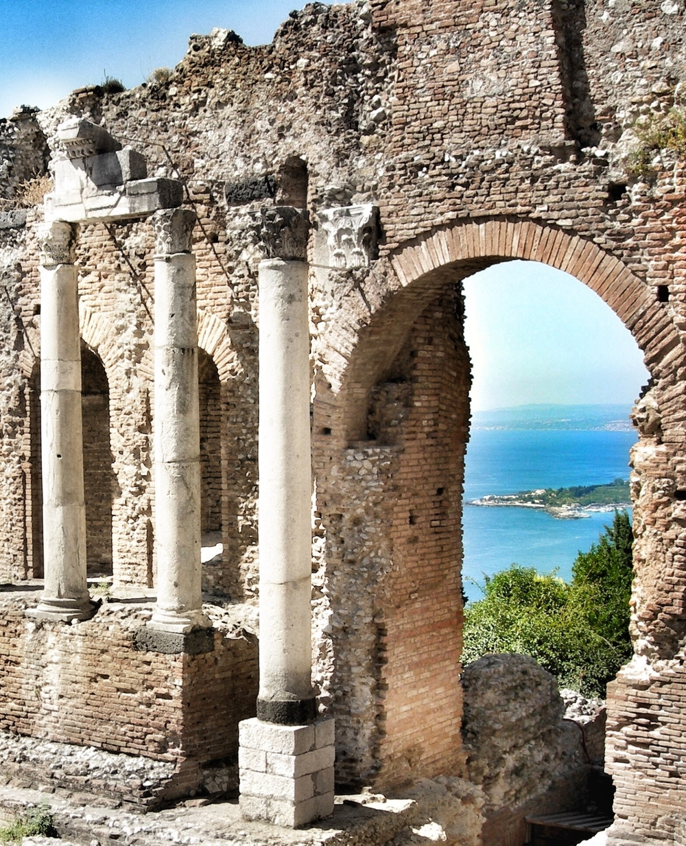 View of beautiful Taormina, Sicily (they have concerts in the old Greek Amphitheatre)