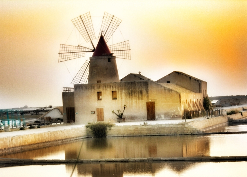 Windmill, salt flats near Marsala, Sicily #seasalt