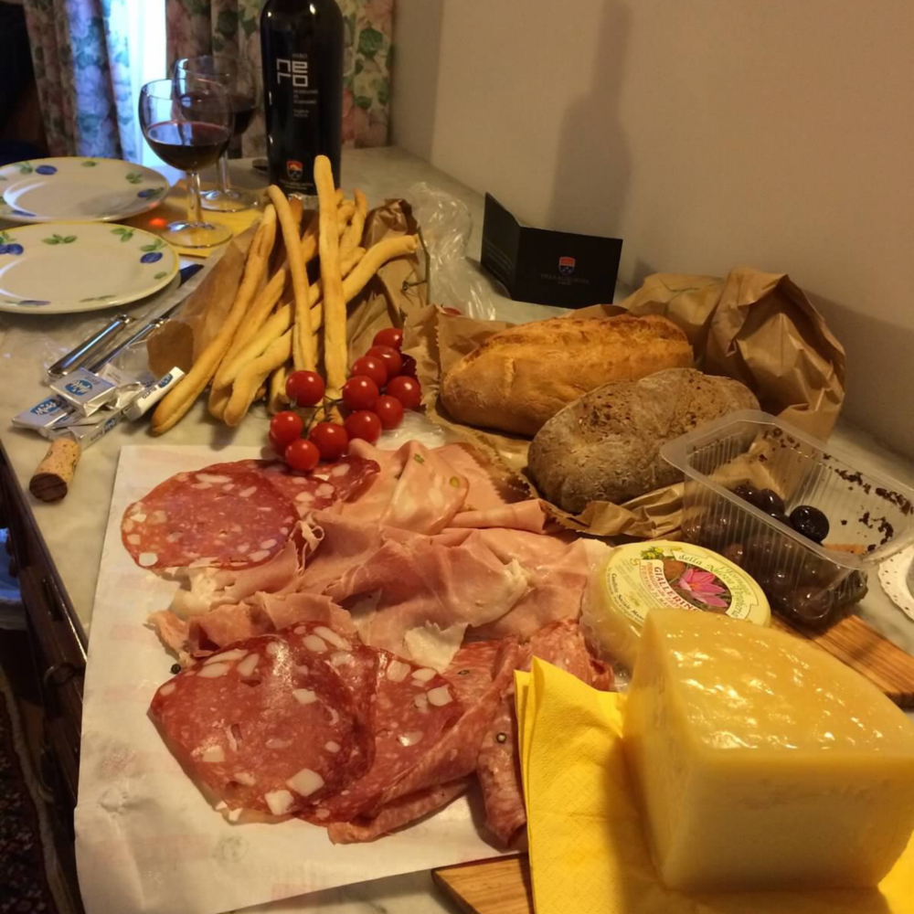 Impromptu Farewell Picnic - Treats from Maremma, Italy including Saffron cheese and Villa Acquaviva Nero