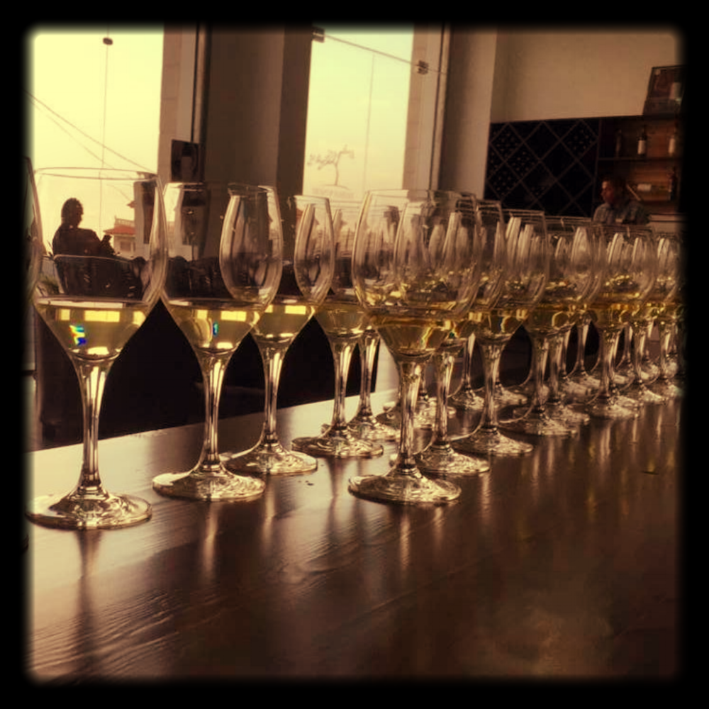 Zeini Blanc glasses waiting to be tasted