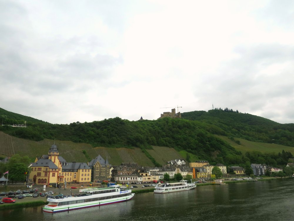 The ruins of Landshut Castle seen above the town of Bernkastel - Kues. A popular port for river cruises.