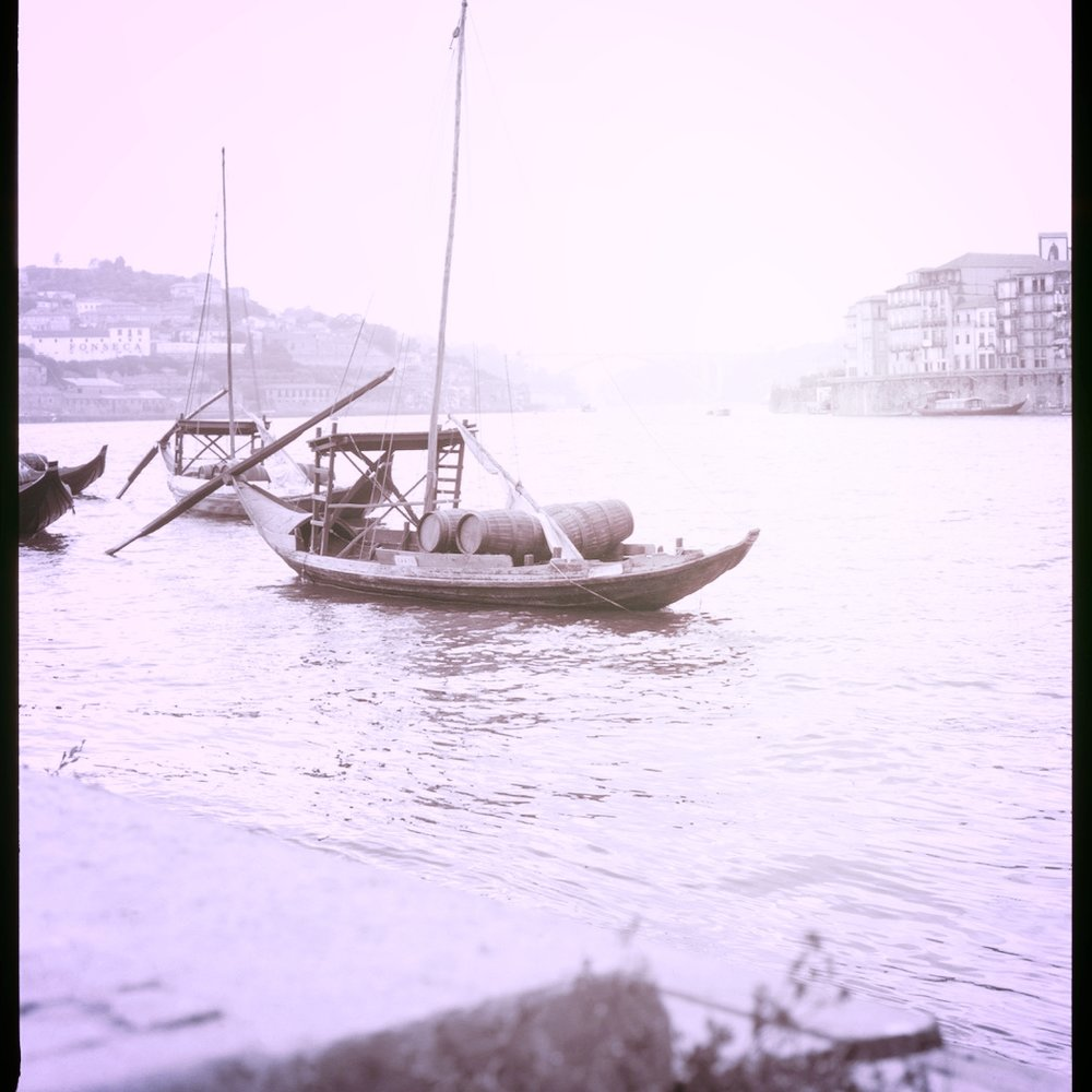 traditional rabelo boats on the Douro in Porto, Portugal.
