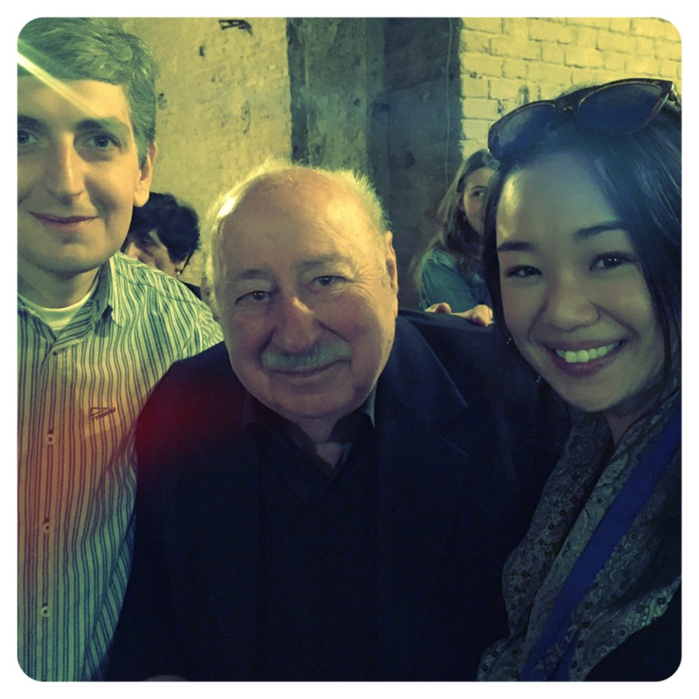 Charine with Stalin's last living winemaker in the middle.JPG