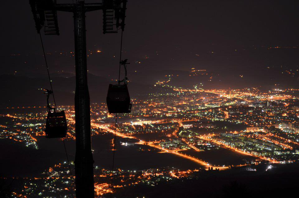 A view of the city from the ski lifts