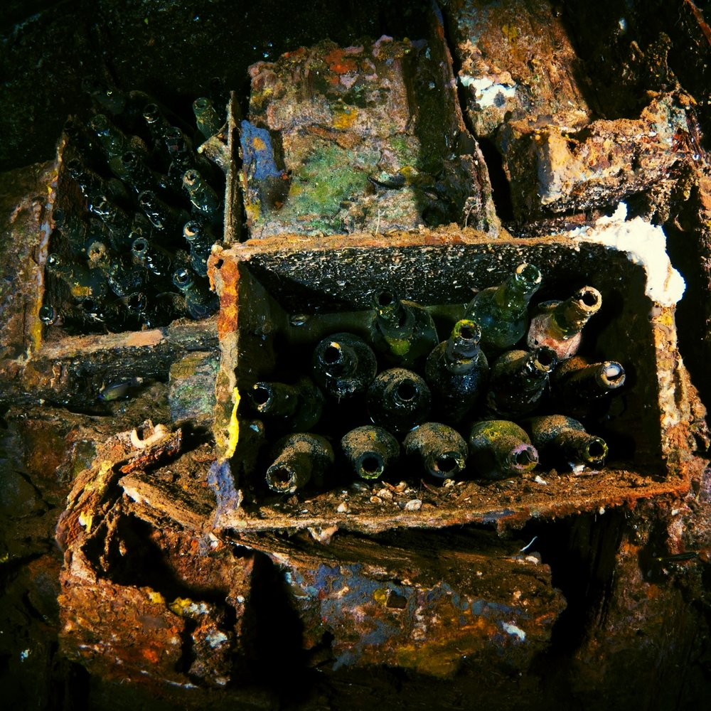 A cargo hold of bottles (likely beer bottles, but I like to pretend they're wine) inside the Rio de Janeiro Maru, a sunken WWII Japanese shipwreck in Truk Lagoon, Micronesia.