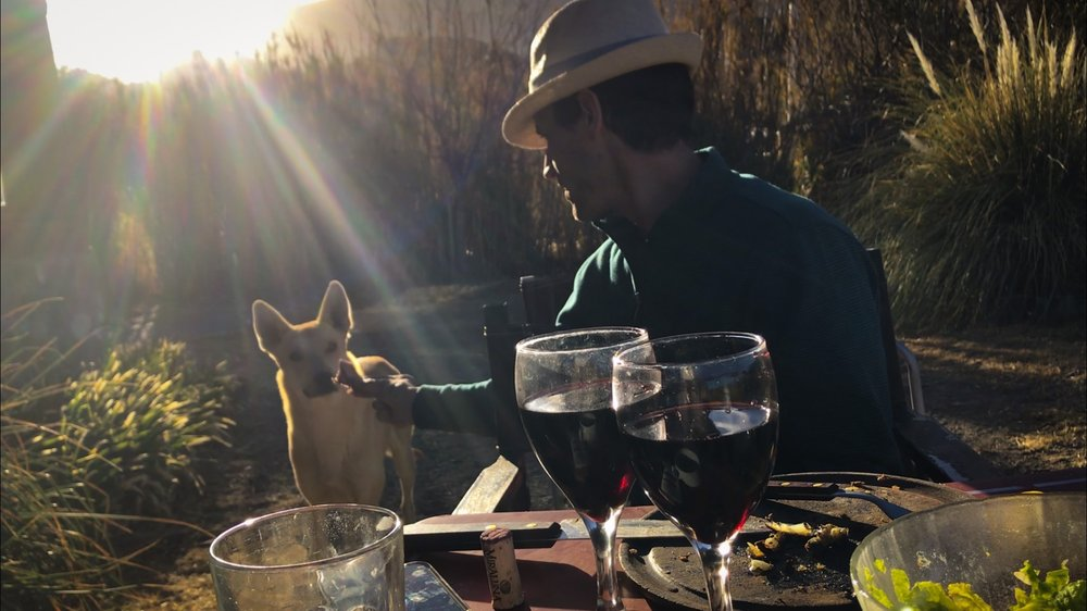 Dining with the Locals and a stray dog in Cachi, Argentina.