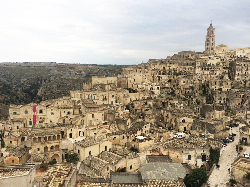 Matera—a small town carved into a canyon.
