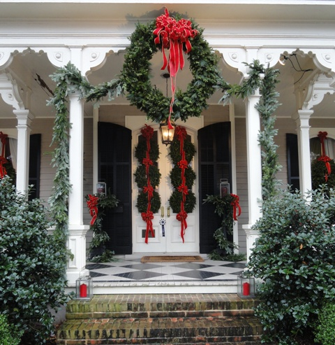 Photo of holiday decorated house