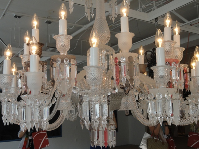 Zenith Chandelier, clear pink and mist crystals by Phillipe Starck. Photo credit Wrenda Goodwyn for the News-Press. - Copy.JPG