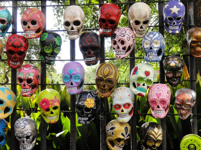 Masks in Jackson Square in New Orleans.