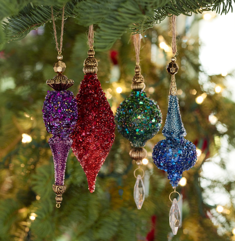 Photo of jewel tone ornaments from Pottery Barn