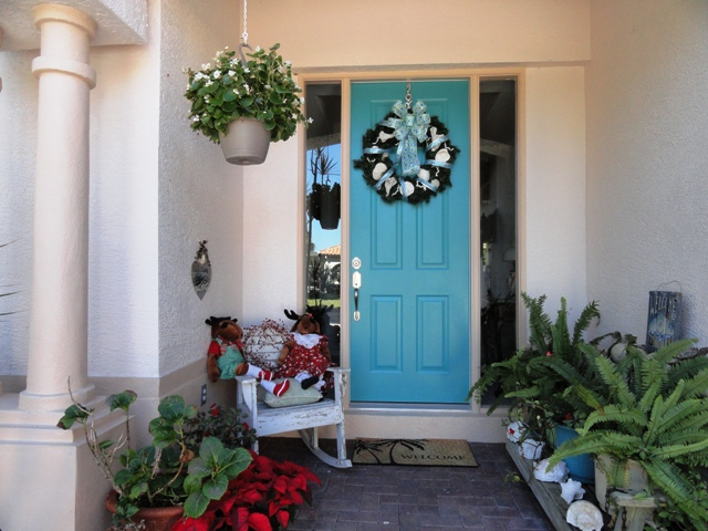 Photo of holiday turquoise door after makeover