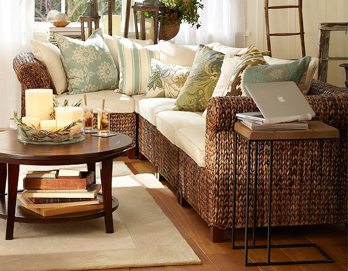 Photo of seagrass sofa from Pottery Barn