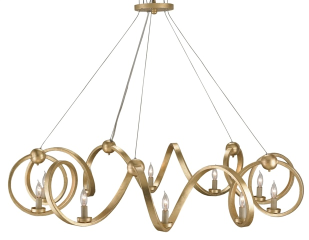 Orli Chandelier of Wrought Iron finished in Contemporary Gold Leaf. Photo: Currey & Company.