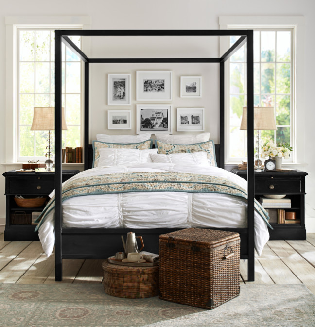 Traditional design gains modern boldness in this Frances canopy bed, inspired by the open industrial feel found in revitalized loft spaces. Photo: Pottery Barn.