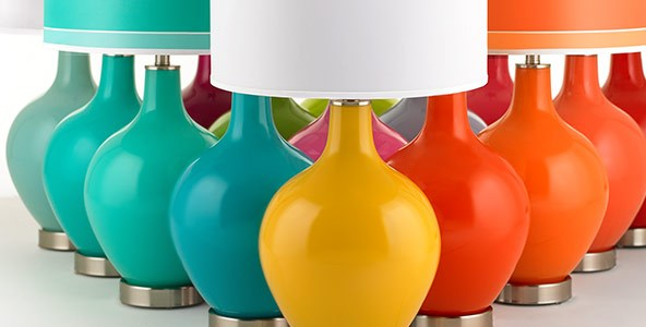 Lamps Plus makes it easy to select lighting with Sherwin Williams and Pantone shades and custom-coordinated shades. Photo: Lamps Plus