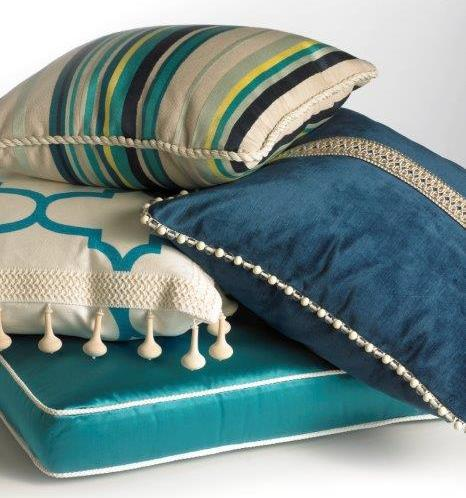 Beaded tapes, cords and fringes and tapes accent pillows and furnishings. Photo: Kravet.