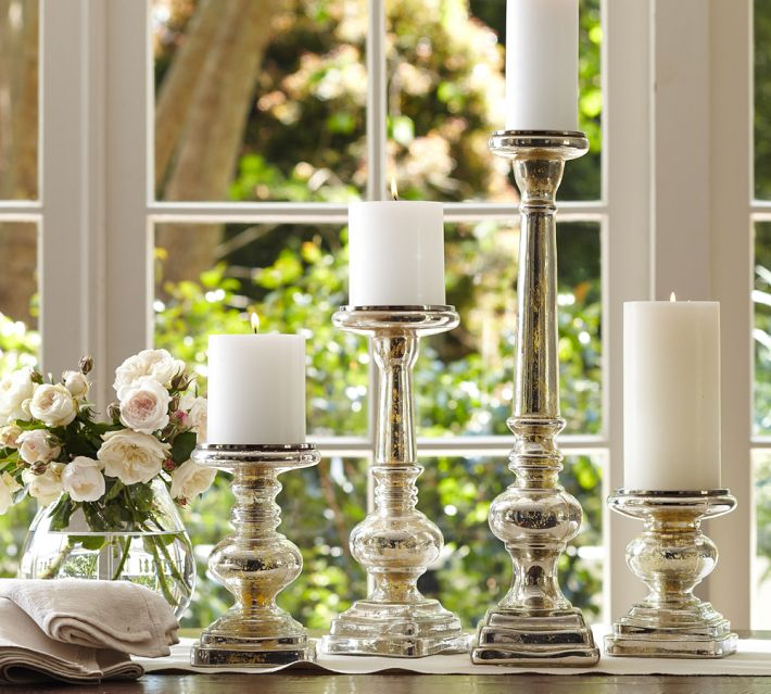 Mercury glass pillar candle holders from Pottery Barn. Photo: Pottery Barn.