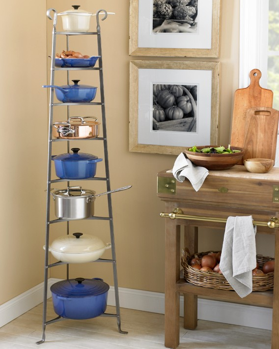 Add functional style to your kitchen with a hammered steel cookware stand from Williams-Sonoma. Photo: Williams-Sonoma.