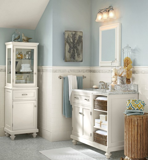 "For a bath select colors that are tranquil and reminiscent of the sea. This Pottery Barn-inspired bath with Sherwin-Williams ""Krypton"" with a calm, clean white."