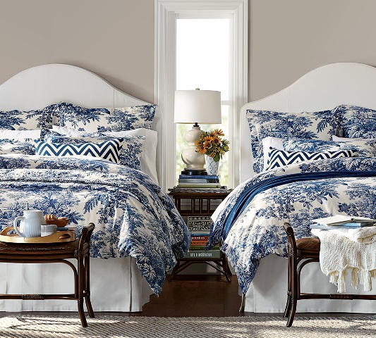 "Pottery Barn's twilight blue Matine tolie bedding is a perfect accent color for Sherwin-Williams ""Functional Gray"" walls. Photo: potterybarn.com"