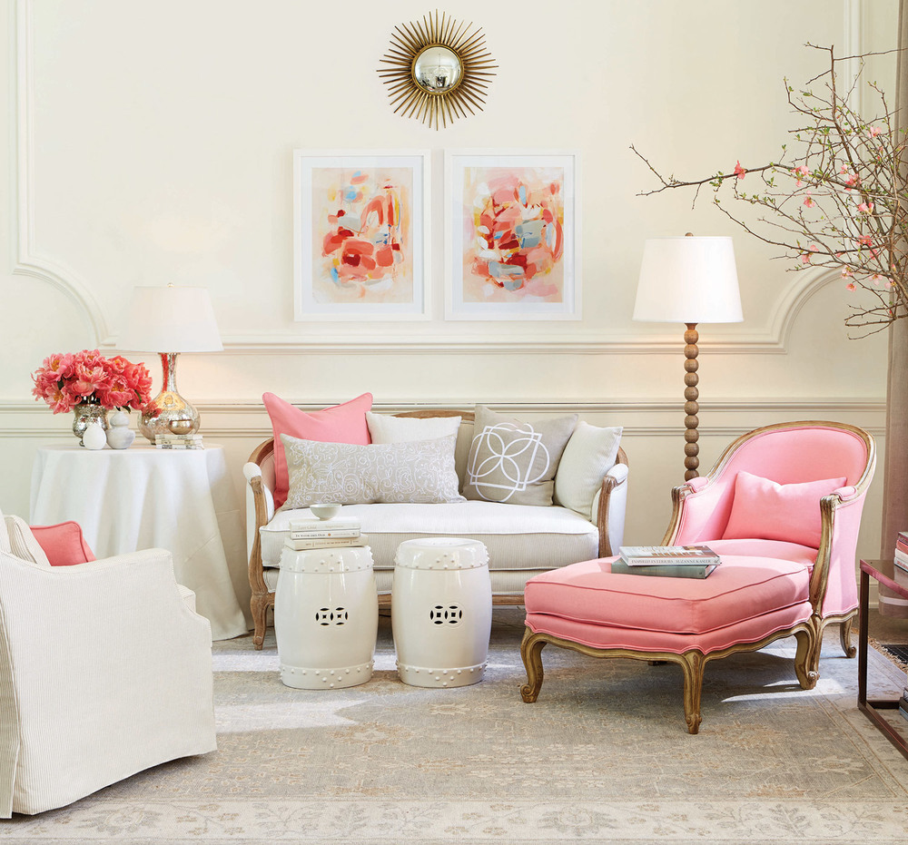 Relaxing and pretty. Suzanne Kasler curated softly colored abstract art that pairs with her signature fabrics and finishes for Ballard Designs. Photo: Ballard Designs.