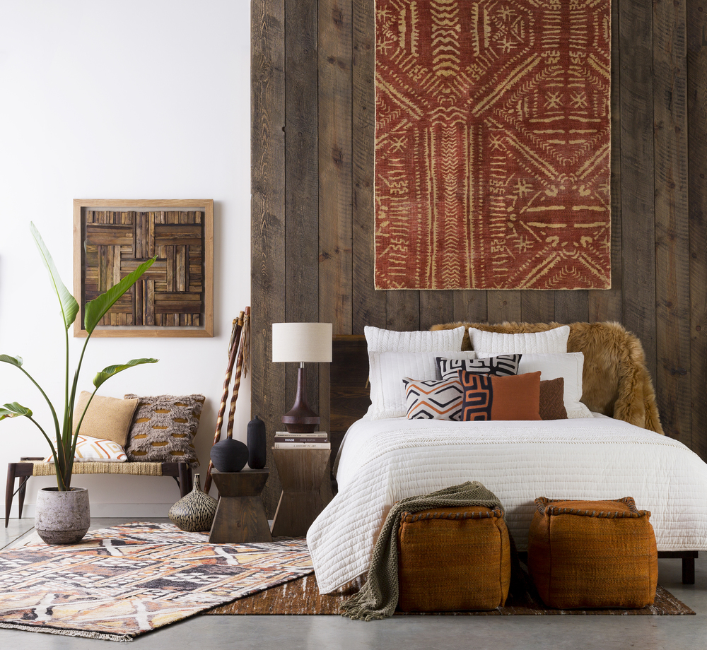 Inspired by the colors and artisanal designs of African tribal textures, this Kuba collection from Surya is expressive and free spirited with a sense of cultural heritage passed down through generations. Photo courtesy of Surya.
