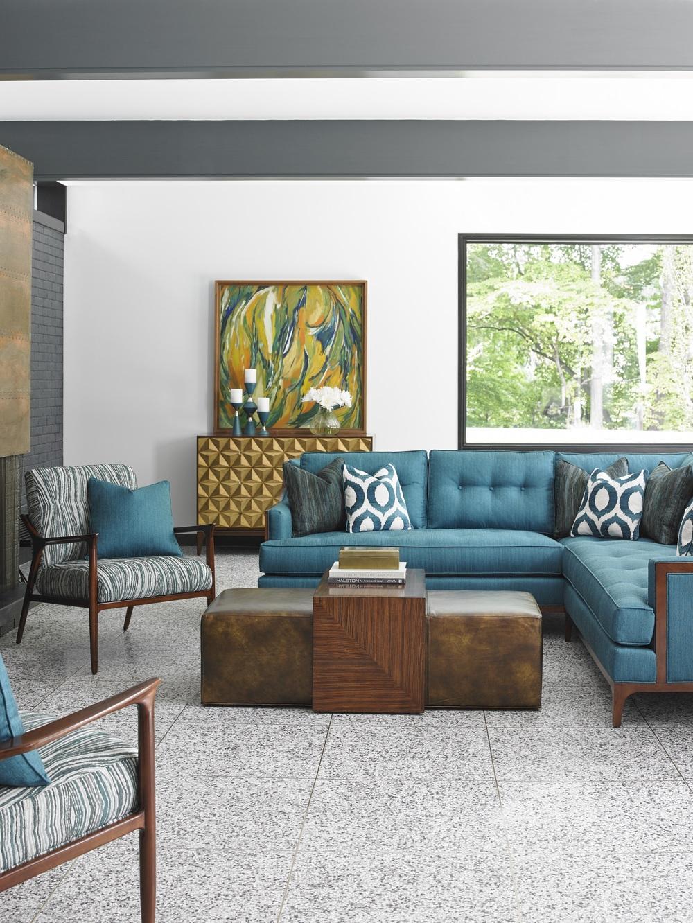 Upholstered seating with clean lines, bright color tones and bold patterns feature geometric and abstract designs. Sleek and comfortable sectional seating is iconic to mid-century styling and is functional for entertaining. From Lexington Home Brand's Take Five Collection. Photo: Courtesy of Lexington Home Brands.