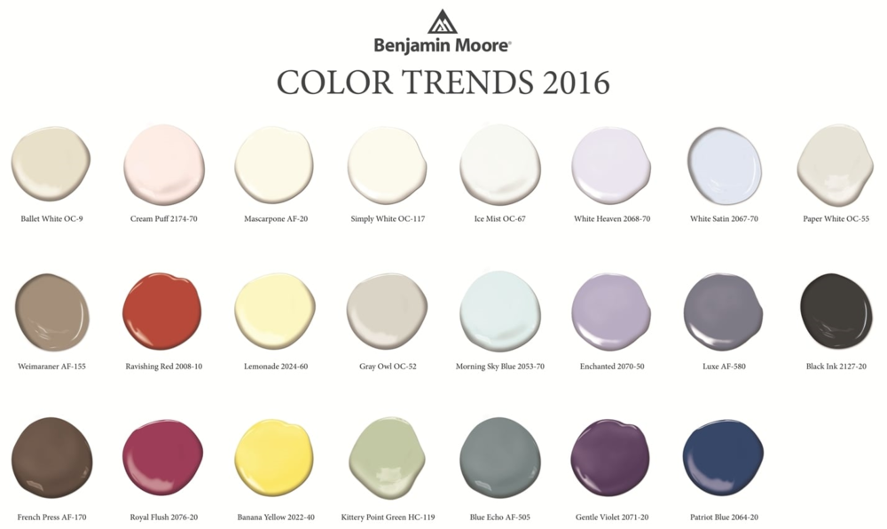 Create a beautiful color palette for your home using white and Benjamin Moore's Color Trends for 2016. Photo: Benjamin Moore.