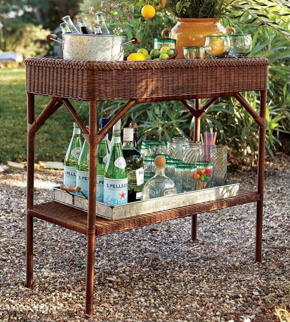 Perfect for a porch: Pottery Barn's all-weather wicker bar console. Photo: Pottery Barn.