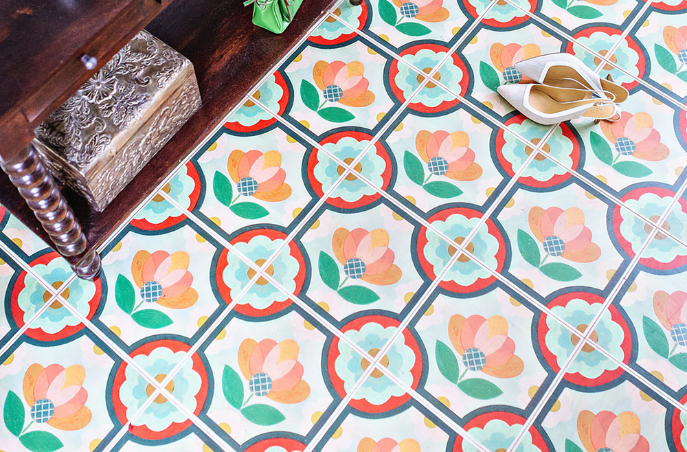 Colorful adhesive tiles from Mirth for an entry, bathroom or kitchen.  Photo  Courtesy of Mirth.
