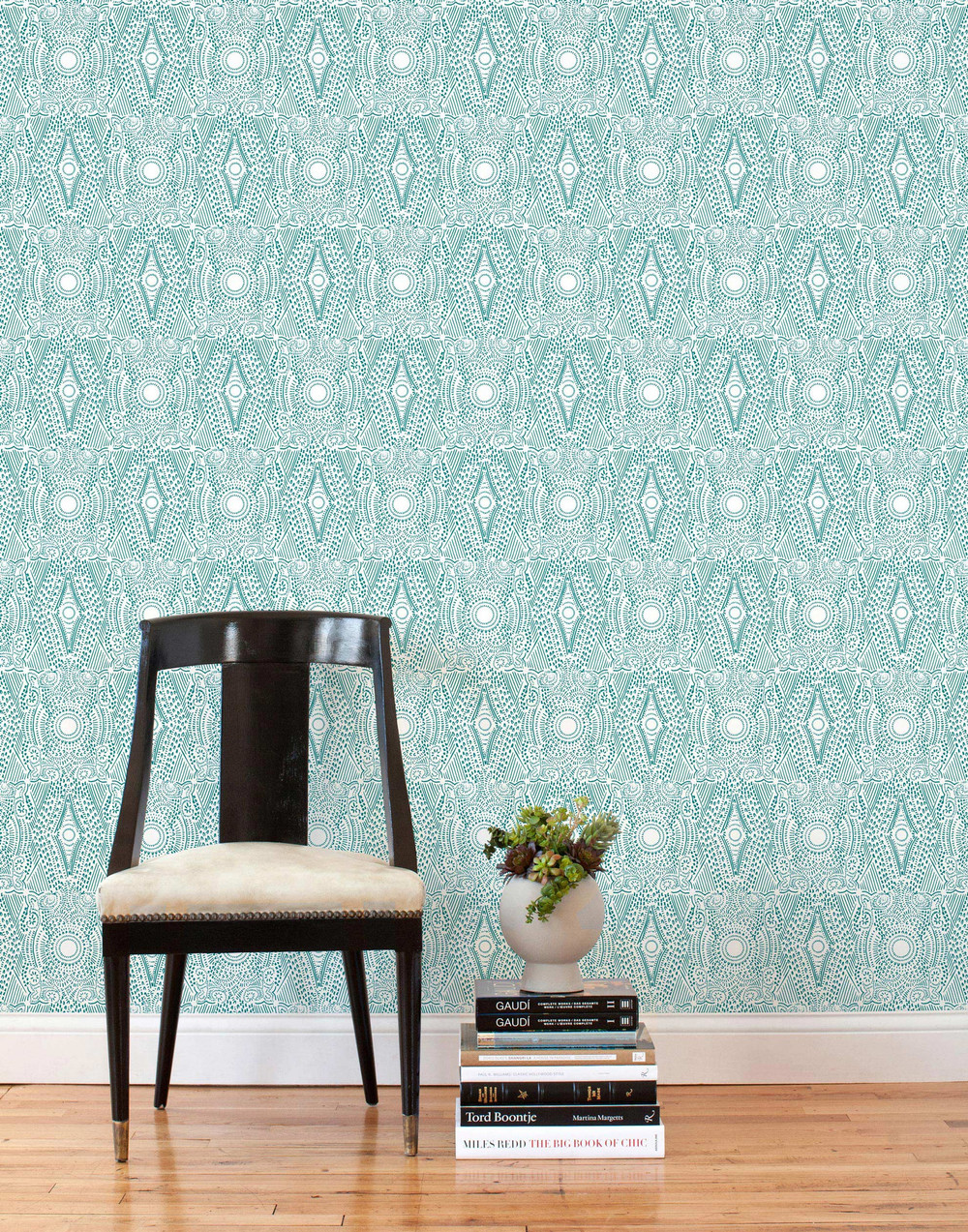 ReUsable wallpaper tiles by Hygge and West are removable so you can take them when you leave your rental or enjoy them for a long time. Photo courtesy of Hygge  and West.