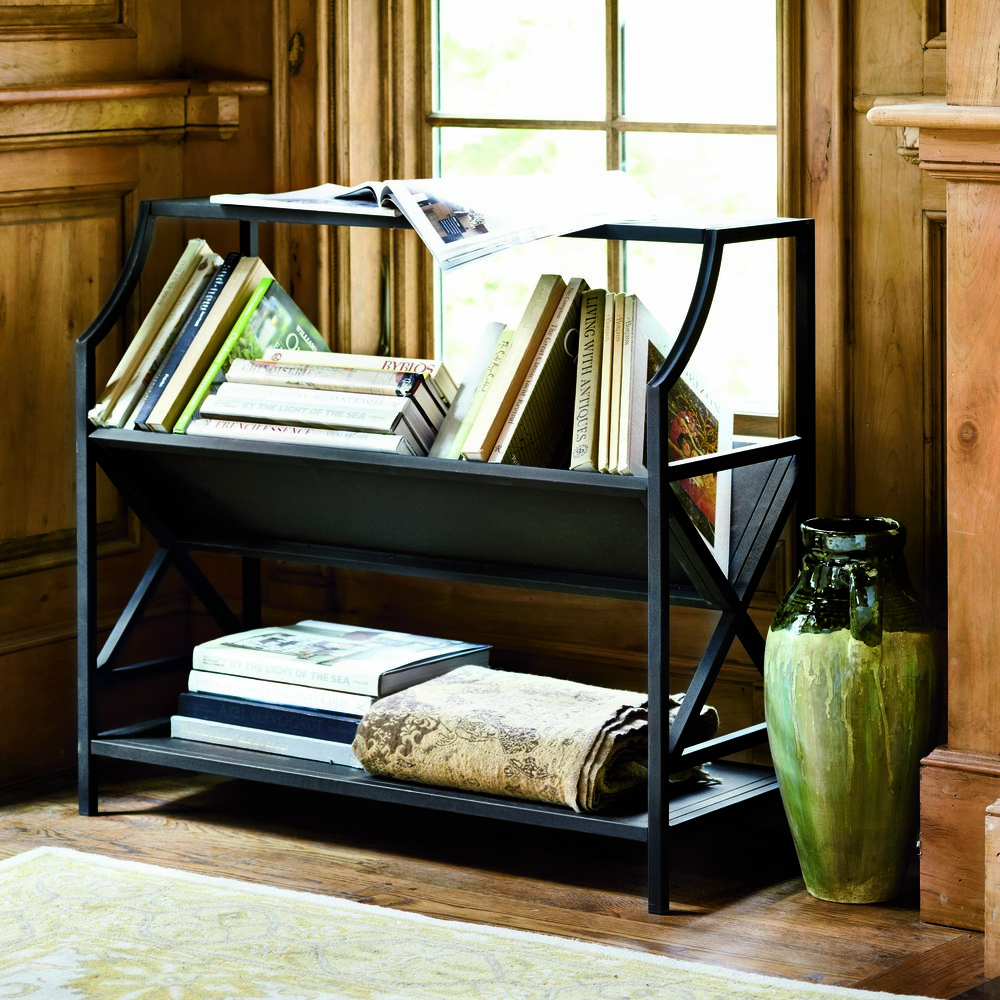 The library bookshelf is based on a traditional bookseller's shelf in London's Portobello market. It holds books at an angle so the spines are easy to read. Photo courtesy of Ballard Designs.