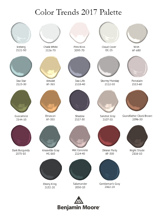 For use with Shadow, the Color Trends 2017 palette features 23 rich and sophisticated hues ranging from muted pales to saturated deeps. Photo: courtesy of Benjamin Moore.