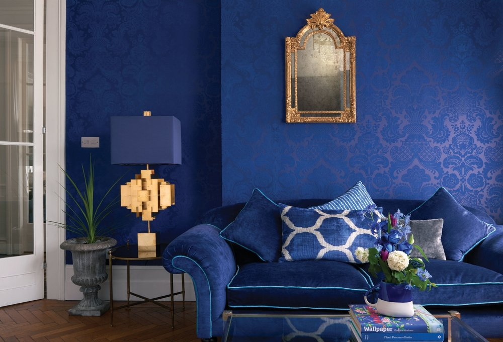 Bring drama into your décor with Cole & Son's Mariinsky damask historical wallcovering design that celebrates the look of theatre, opera and ballet. Shown: Petrouchka.  Available at Kravet to-the-trade showroom, Naples. Photo: courtesy of Kravet.