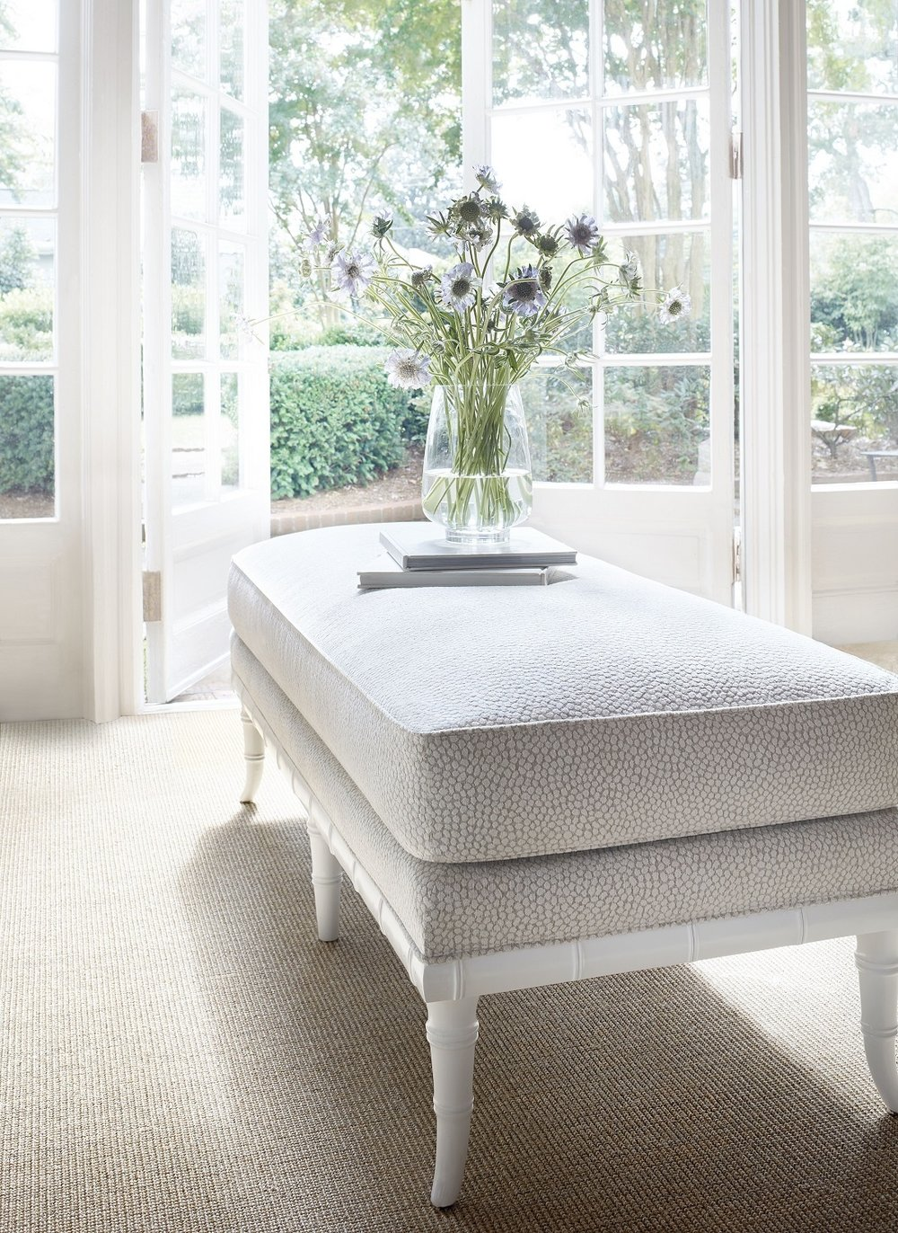 Devon bench covered in Kali woven fabric from Thibaut's mosaic collection. Crypton Fabric is stain and odor resistant. Photo: courtesy of Thibaut Design.