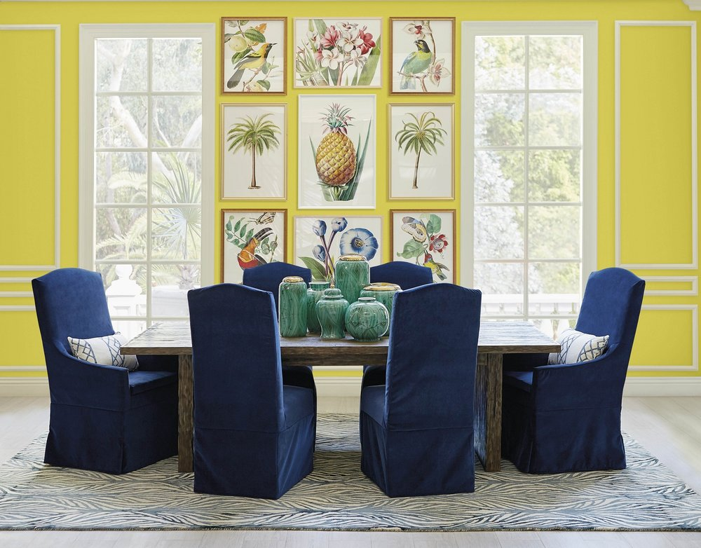 Bring vibrant color into your home with a focal point gallery wall designed with Frontgate's tropical art. These heirloom-quality prints are from the horticultural and botanical works at the New York Botanical Garden. Photo: courtesy of Frontgate.