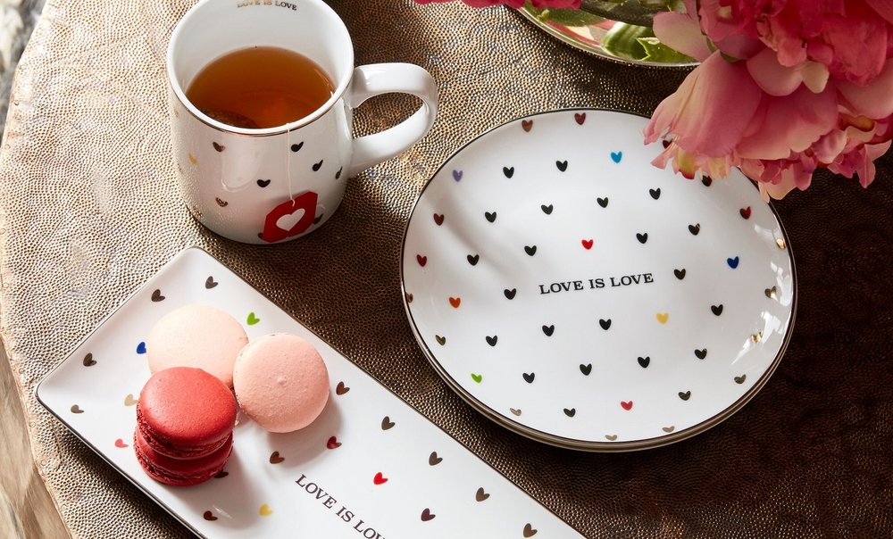 Treat yourself to a break with this love is love tray and accessories.  Photo courtesy of Pottery Barn.