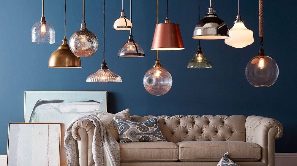Metallics are the hot accessory for the new year. Pendants in nickel, brass, copper, bronze, white, vintage glass.   Photo courtesy of Pottery Barn.