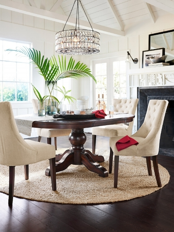 Glam it up and arrange a dining space with plants, rug and a beautiful Adeline crystal chandelier.  Photo courtesy of Pottery Barn.