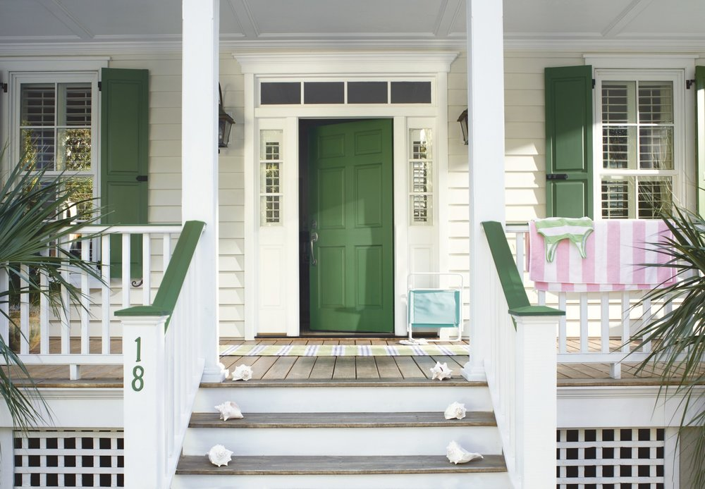 "Say ""welcome to your new home"" from the moment a buyer enters the front door. Freshen things up. Free up some space and lighten up each room so they will envision their life in your home.  Colors: Benjamin Moore. Door: Green Meadows. Siding: Maritime White. Trim: Snowfall White. All in Aura Grand Entrance Satin. Photo Credit: Benjamin Moore."