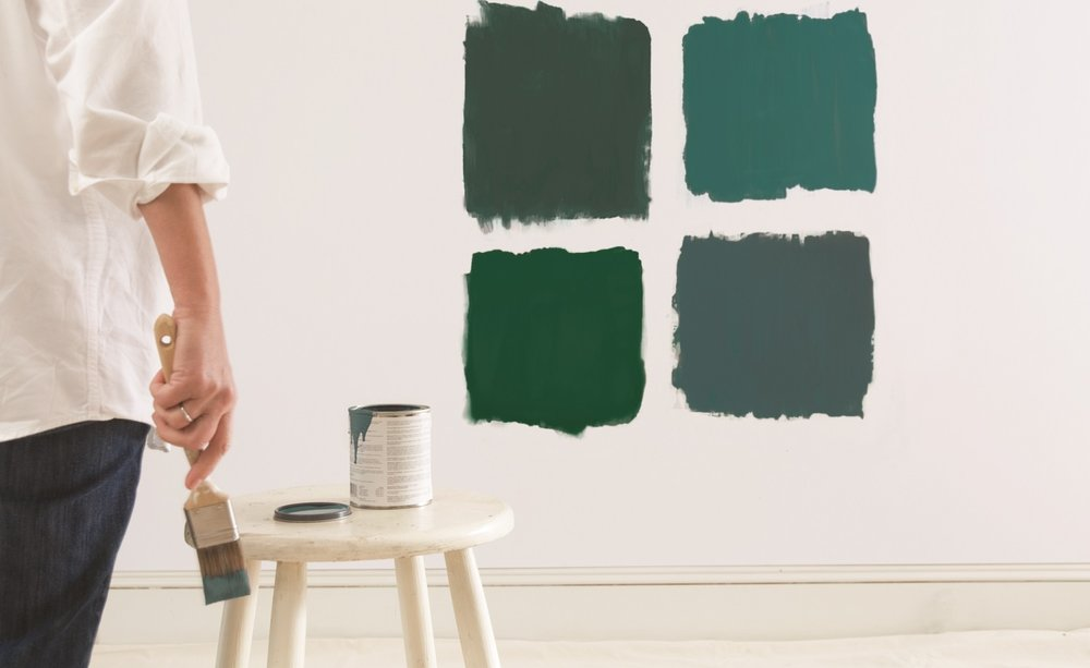 Selecting paint color is challenging for most homeowners. It's important to test your final selections on the actual wall. Leave the test colors up for a few days and see how they change with lighting. Photo courtesy of Benjamin Moore.