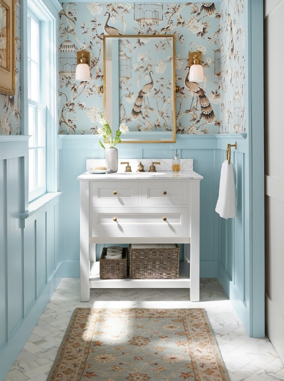 Artisan-made, Malika Persian-style rug from Pottery Barn is hand-tufted of pure wool. The beautiful colors make it a good choice for a bathroom in a 3 x 5 size. Photo courtesy of Pottery Barn.