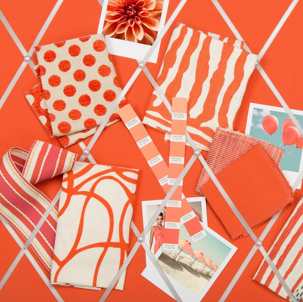Kravet fabrics, trims and more in Pantone's Living Coral. Photo: Kravet.